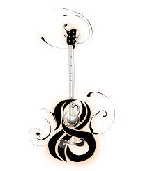 unique black traditional guitar tattoo stencil by b rox u