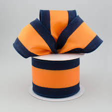 navy and white striped ribbon 2 5 satin team stripe ribbon navy blue orange 10 yards 340 4
