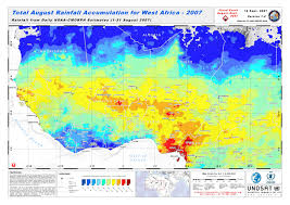 Map West Africa by Total August Rainfall Accumulation For West Africa 2007 Unitar