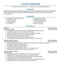 Entry Level Resume Template Mechanic Resume Samples Create My Resume Computer Technician