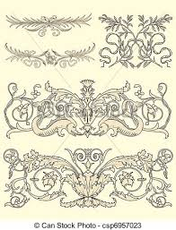 vectors of set of five classical ornaments set of five classical