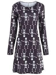 long sleeve dresses black xl skeleton print long sleeve