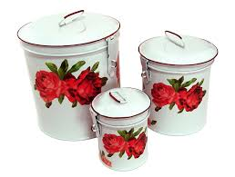 amazon com white canister set w french chic red roses vintage