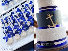 a navy u0026 royal nautical wedding cake cake pops the pastry studio