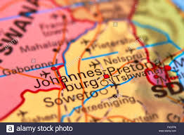 South Africa World Map Johannesburg City In South Africa On The World Map Stock Photo