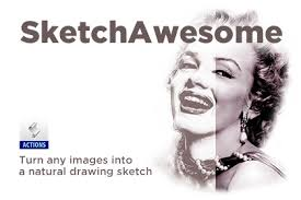sketchawesome sketch photoshop action free design resources