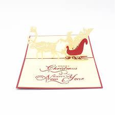 Merry Birthday Card 2017 New Santa Ride Reindeer Merry Christmas Vintage 3d Laser Cut