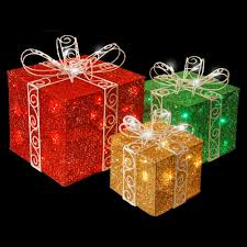 pre lit christmas gift boxes national tree company pre lit sisal gift box assortment df 100001