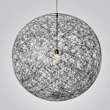 Pendant Light Wire Linen Wire Globe Pendant In Country Style 1 Light Black Colored