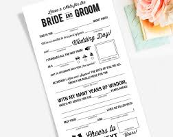 wedding advice card wedding mad libs printable template kraft sign card