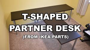 Partner Desks Home Office by T Shaped Partner Desk From Ikea Parts Youtube