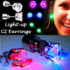 light up led earrings white crown jewelry