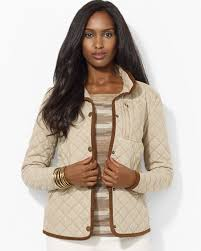 ralph lauren lauren quilted jacket with plaid lining in natural lyst