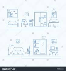 vector banner thin line icons interior stock vector 420625375 interior decoration elements living room furniture and