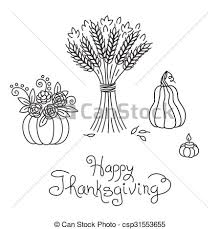 doodle thanksgiving vintage sheaf of wheat and pumpkin clipart