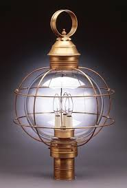 l post light socket caged round post dark antique brass 3 candelabra sockets clear seedy
