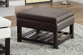 poundex f6803 brown faux leather bench like storage ottoman