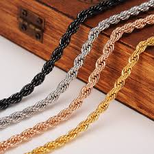 black rope chain necklace images Cubanchain necklace trendy copper 5mm width gold black silver rose jpg