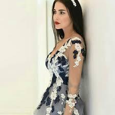 light grey prom dress a line v neck long sleeves floor length
