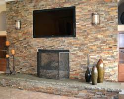 stacked stone veneer over brick fireplace costco stunning drywall