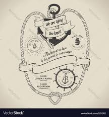 Wedding Invitations Nautical Theme - vintage nautical themed wedding invitation vector image