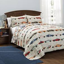 Graphic Duvet Cover Graphic Quilt Full Queen Set Race Car Themed Adorable Horizontal