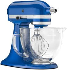 kitchenaid mixer artisan 5 quart glass bowl mixer electric blue