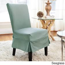 turquoise chair slipcover quickcover twill mid pleat relaxed fit dining chair slipcover with