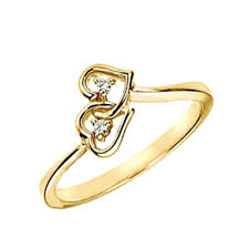 gold ring design tone 0 04 ct diamond engagement gold ring designs two hearts for