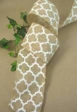 burlap wired ribbon printed burlap ribbons ribboncraft ebay