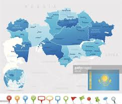 Kazakhstan Flag Map Of Kazakhstan States Cities Flag And Icons Vector Art Getty