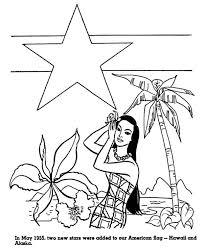 hawaaii and alaska for american flag in hawaiian colouring page