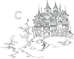 Haunted Castle On Halloween Day Coloring Page Download Print Coloring Pages Castles