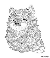 zen art cat hand drawn fluffy cat portrait zentangle style