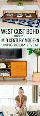 west coast boho meets mid century modern living room reveal