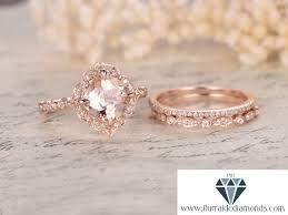 morganite wedding set 8mm floral cushion cut morganite engagement ring set matching