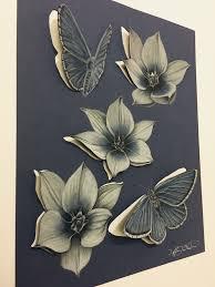 3d paper art cut out pencil drawing art butterflies and flowers