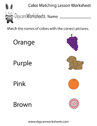 preschoolers have to match the names of colors with the correct