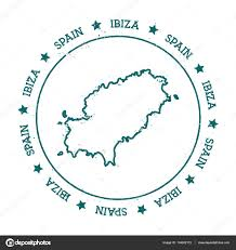 Circle Map Ibiza Vector Map Distressed Travel Stamp With Text Wrapped Around