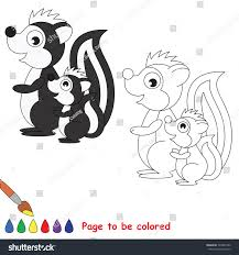 white black skunk mother baby stock vector 729834760