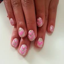 this is her led polish manicure in u0027heavenly silver u0027 with u0027pink