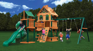 decorating chic gorilla swing sets made of wood with green slide