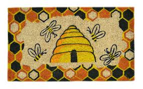 amazon com imports decor decorated coir doormat beehive design
