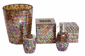 mosaic glass bathroom accessory set 5 pieces mosaic bathroom