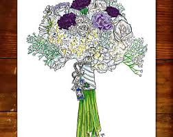 wedding flowers drawing bouquet drawing etsy