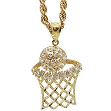 new necklace charms images Basketball pendant rope chain necklace diamond gold charm hoop new jpg