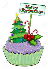 illustration of a cupcake with a christmas tree and a card on