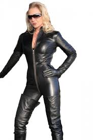 zipper jumpsuit black zipper faux leather moto catsuit for