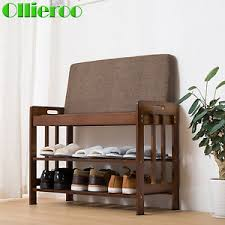 2 4 6 tier bamboo shoe rack bench shoe shelf holder storage