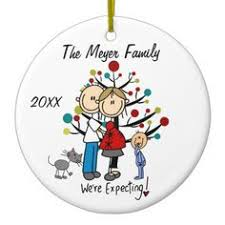 couple with toddler boy cat holiday ornament stick figures